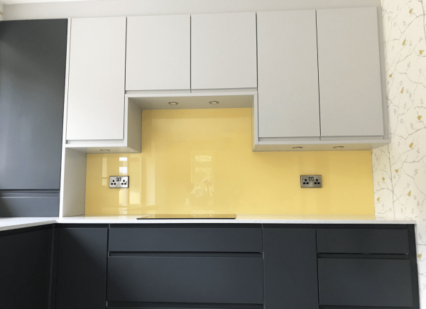 Kitchen Glass Splashback Coloured in Citrus Groves