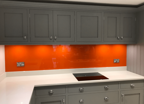 Toughened Glass Splashback Coloured in Tiger Orange