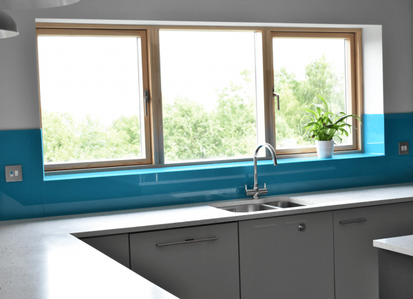 True Teal Glass Window Sill