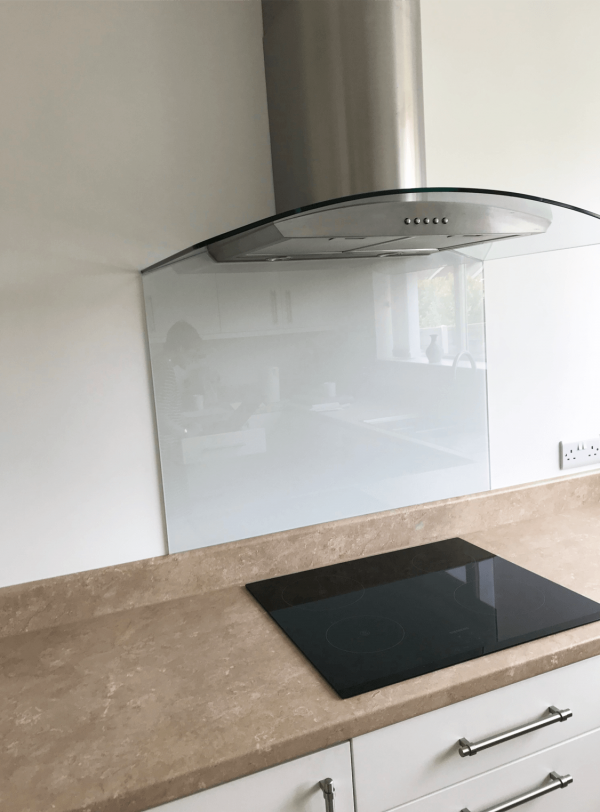 Glass Splashback Strong White Cut To Extractor Fan