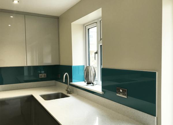 Full Kitchen Glass Splashback Coloured in Aegean