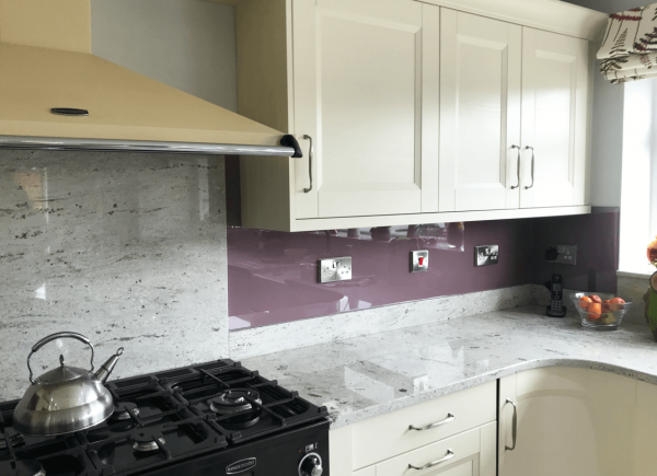 Glass Splashback Coloured in Heather