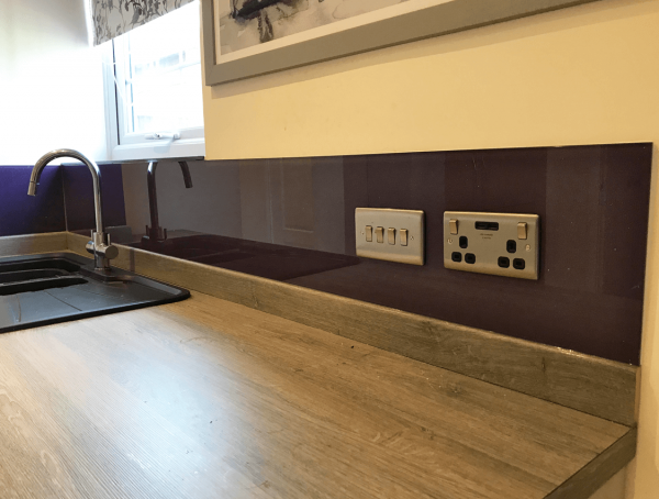 Glass Splashback coloured in Grape Ape