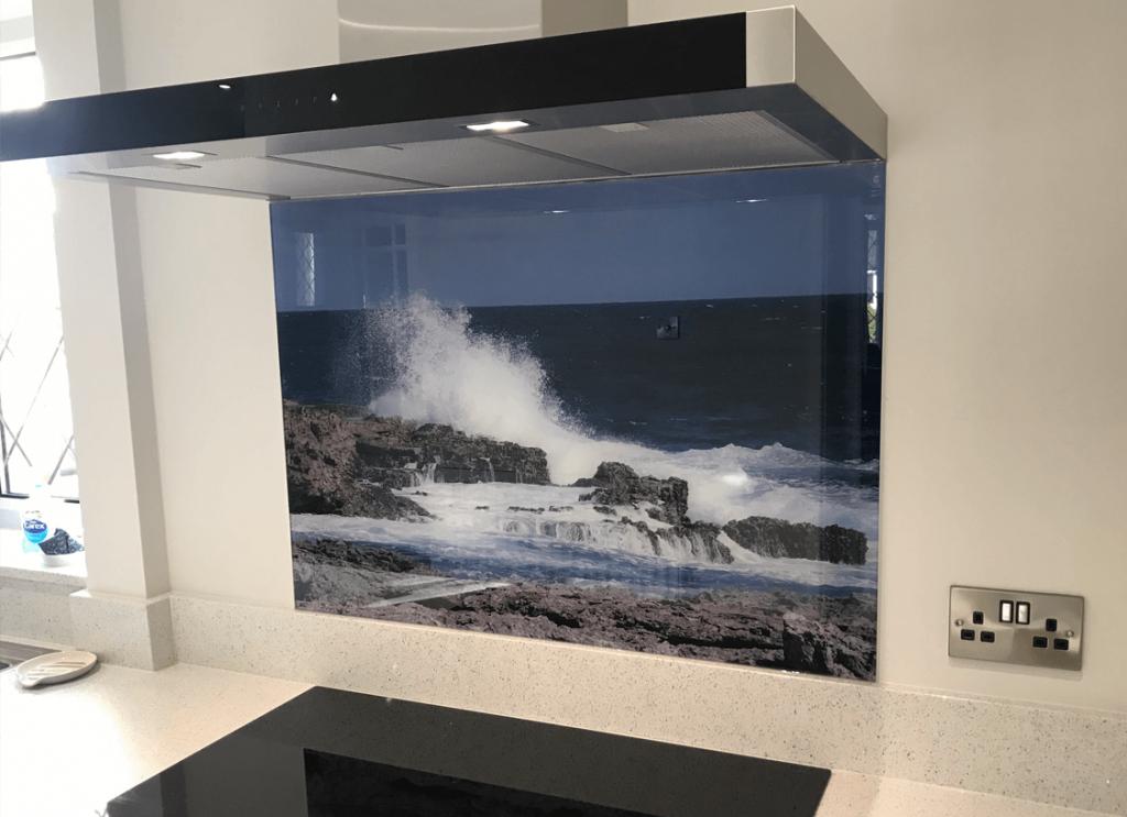 Sea Waves Printed Glass Splashback Glass Splashbacks