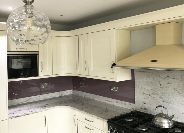 Toughened Glass Splashback Coloured in Heather
