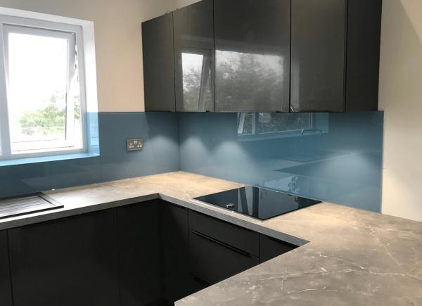 Glass Splashback Coloured in Stonewashed Blue