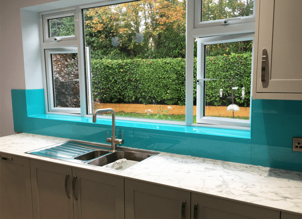 Ice Blue Kitchen Glass Splashback