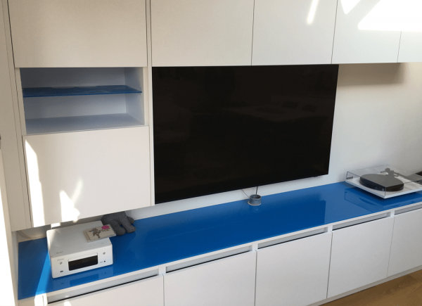 Picasso Blue Toughened Glass Media Unit Top