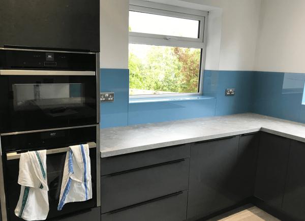 Stonewashed Blue Kitchen Glass Splashback