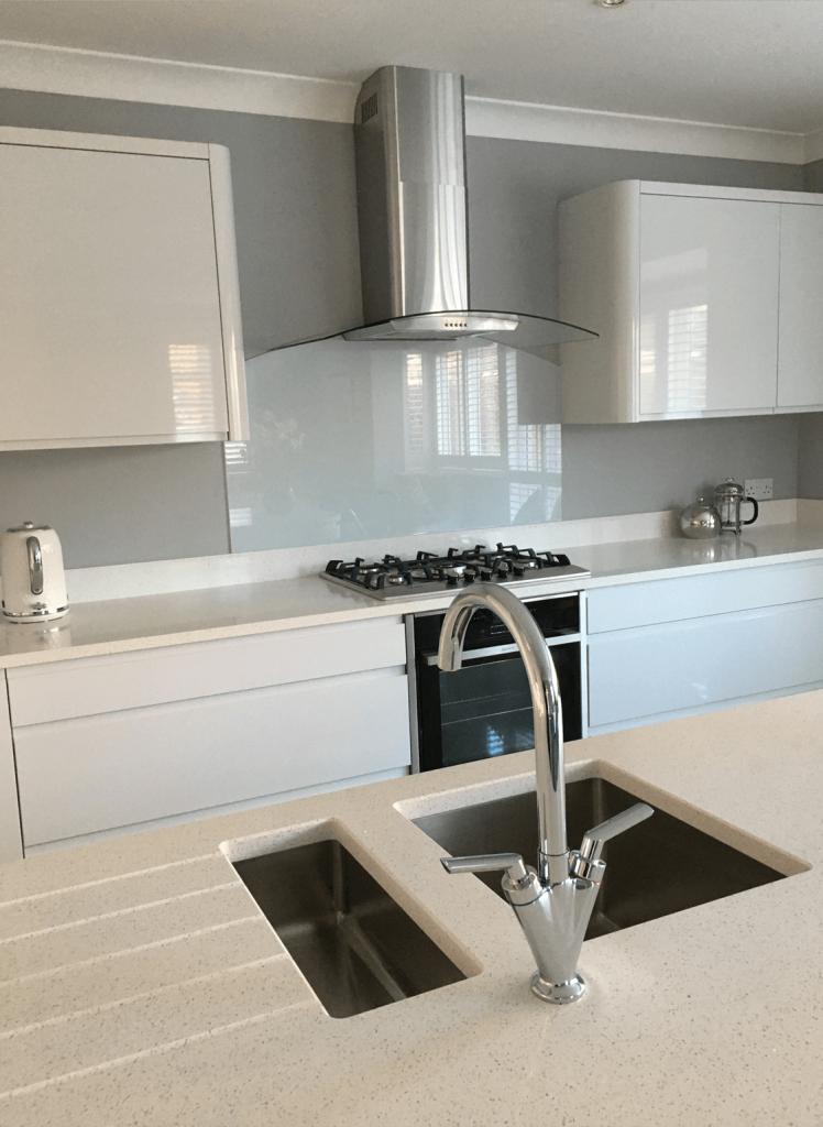 Light French Grey Toughened Glass Splashback with Hood Cutout Glass Splashbacks