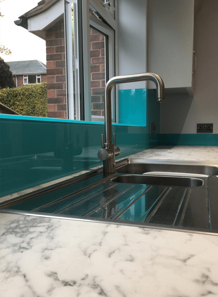 Ice Blue Toughened Glass Splashback Glass Splashbacks