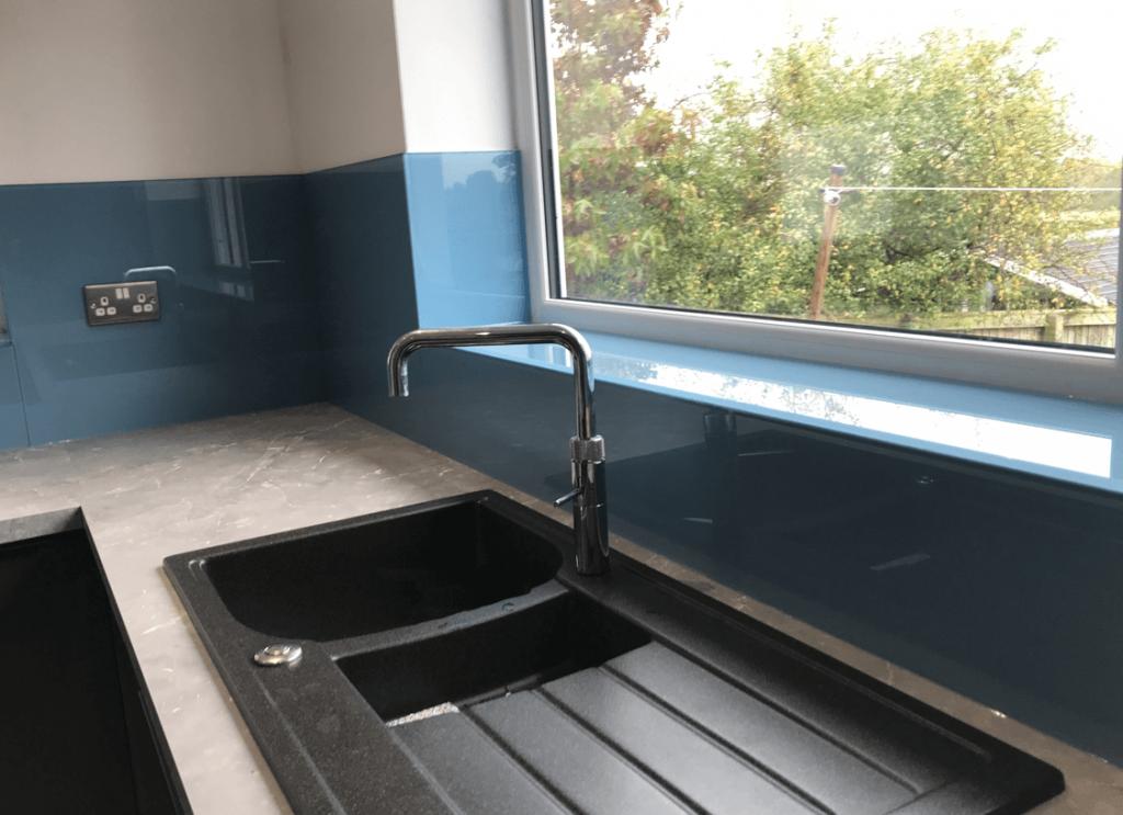 Stonewashed Blue Toughened Glass Splashback (DL) Glass Splashbacks