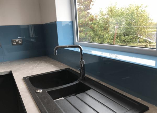 Toughened Glass Splashback Coloured in Stonewashed Blue