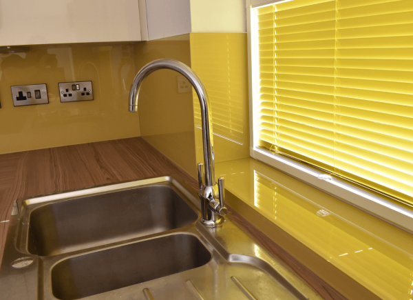 Hall Yellow Glass Splashback with window Sill