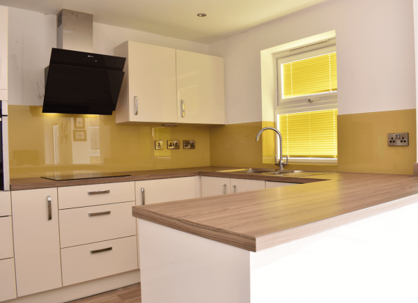 Hall Yellow Kitchen Glass Splashback