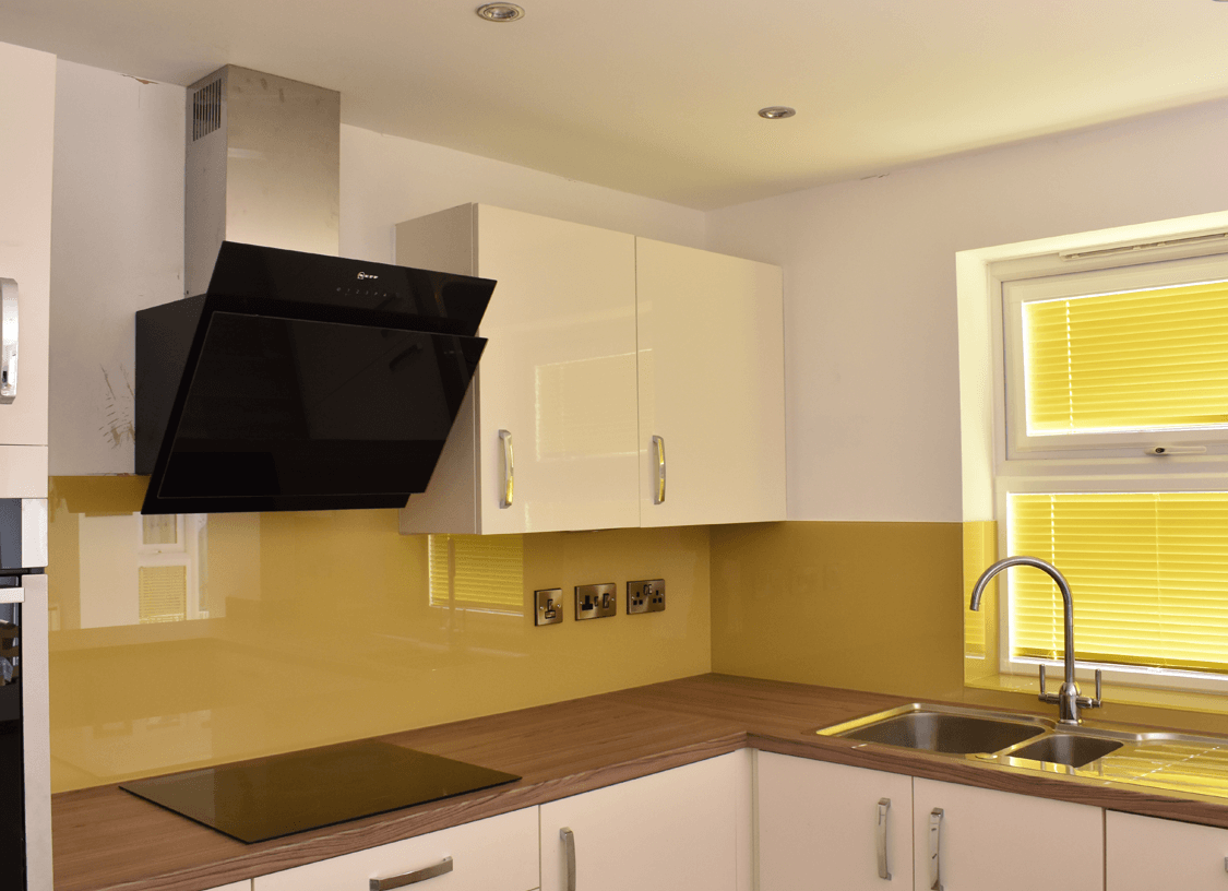 Kitchen Glass Splashback Coloured in Hall Yellow
