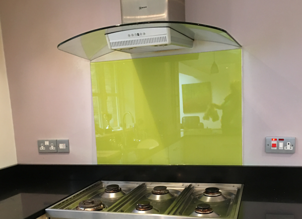 Lime Green Toughened Glass Splashback