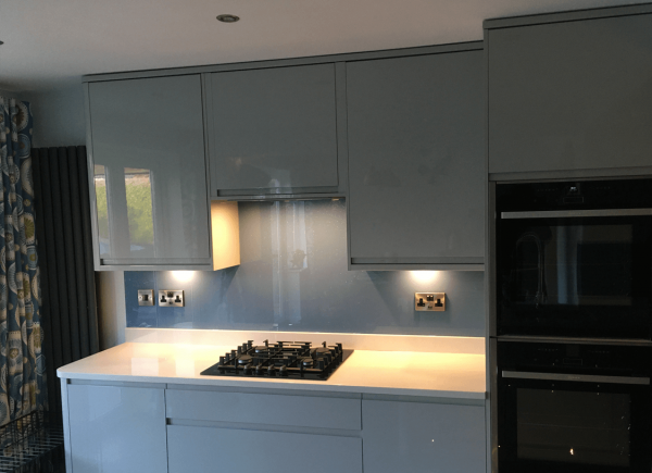 Morning Blue Glass Splashback with Medium Sparkle