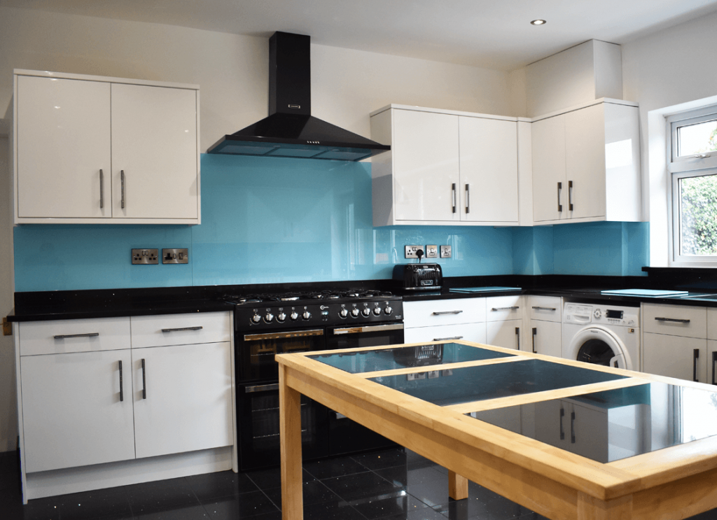 Celeste Blue Toughened Glass Splashback Glass Splashbacks