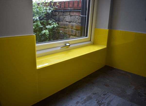 Glass Window Sill Coloured in Sunflower Yellow