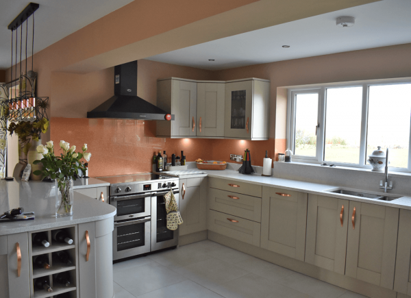 Toughened Glass Splashback Coloured in Rose Gold with Medium Copper Sparkle