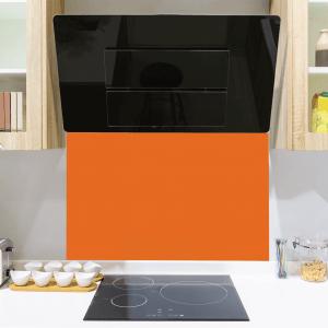 Bright Red Orange Toughened Glass Splashback