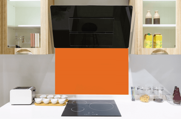 Bright Red Orange Toughened Glass Splashback