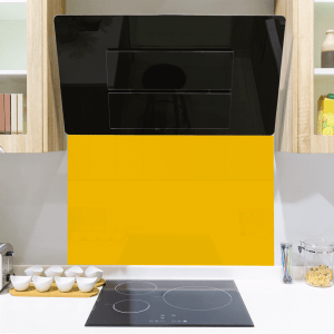 Buterscotch Yellow Toughened Glass Splashback