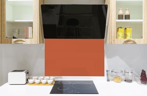 Flame Orange Toughened Glass Splashback