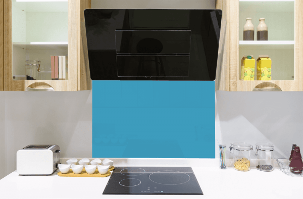 Home from Home Blue Toughened Glass Splashback