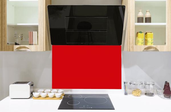Red Red Toughened Glass Splashback