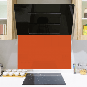 Tiger Orange Toughened Glass Splashback