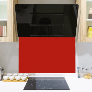 Traffic Red Toughened Glass Splashback