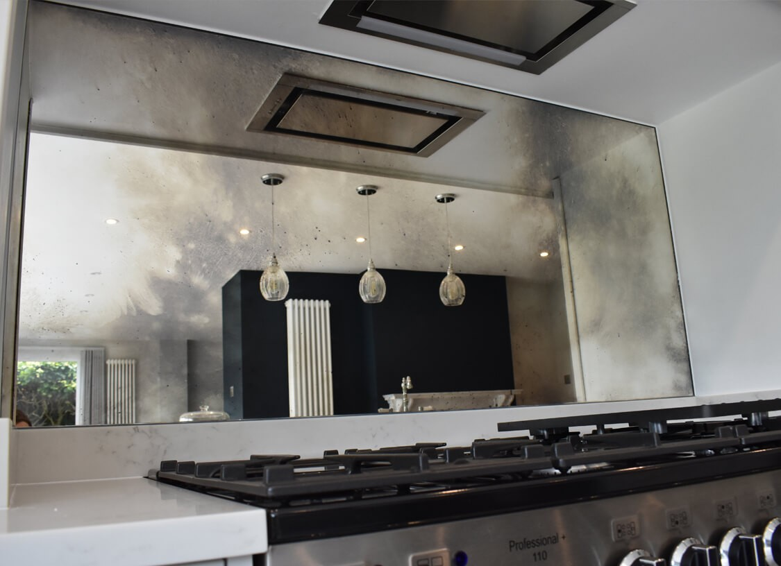 Toughened Antique Mirror Smoked Silver | Glass Splashbacks ...