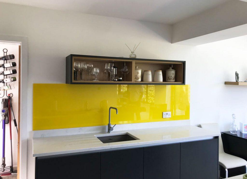 Sunflower Yellow with Medium Sparkle Glass Splashback Glass Splashbacks